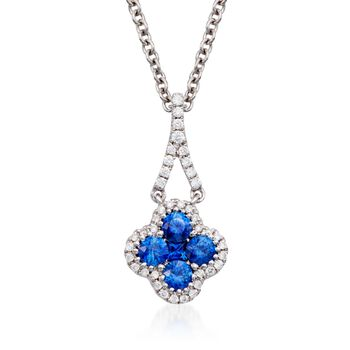Gregg Ruth .49 ct. t.w. Sapphire and .13 ct. t.w. Diamond Pendant Necklace in 18kt White Gold, , default