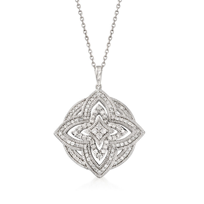 .75 ct. t.w. Diamond Openwork Floral Pendant Necklace in Sterling Silver