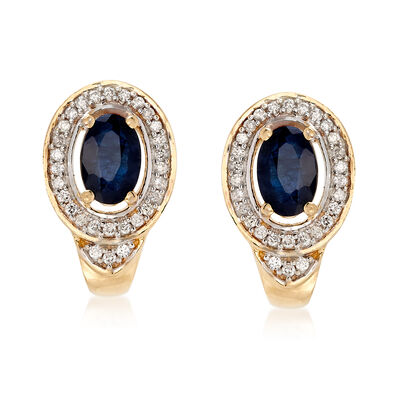 .90 ct. t.w. Sapphire and .16 ct. t.w. Diamond Drop Earrings in 14kt Yellow Gold, , default