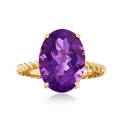 4.90 Carat Amethyst Rope Ring in 14kt Yellow Gold, , default