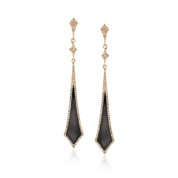 Black Onyx and .44 ct. t.w. Diamond Drop Earrings in 14kt Yellow Gold, , default