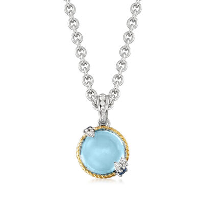 "Andrea Candela ""Dulcitos"" 4.80 Carat Swiss Blue Topaz and .11 ct. t.w. Sapphire Pendant Necklace in Sterling Silver and 18kt Yellow Gold"