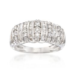 .86 ct. t.w. Baguette and Round Diamond Ring in Sterling Silver, , default