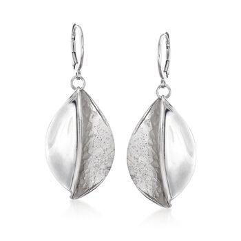 Italian Sterling Silver Magnolia Leaf Drop Earrings, , default