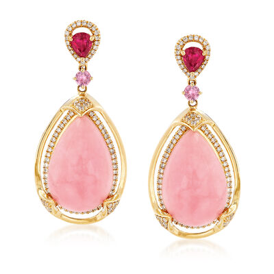 Pink Opal, Diamond and Multi-Stone Drop Earrings in 14kt Yellow Gold