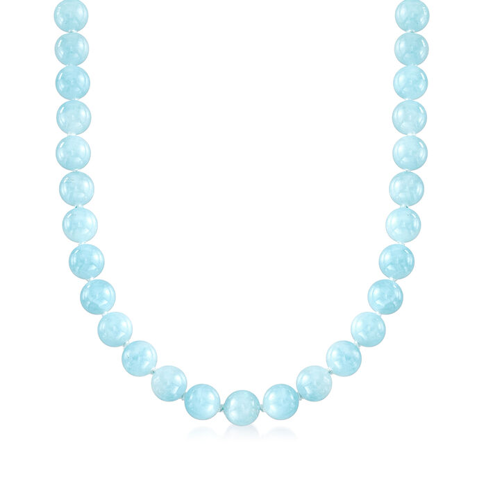 "Mazza 425.00 ct. t.w. Aquamarine Beaded Necklace with 14kt Yellow Gold. 19"", , default"
