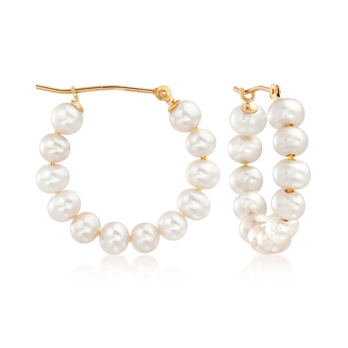 4-5mm Cultured Pearl Hoop Earrings in 14kt Yellow Gold