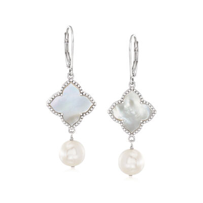 8.5-9mm Cultured Pearl and 15mm Mother-Of-Pearl Drop Earrings in Sterling Silver