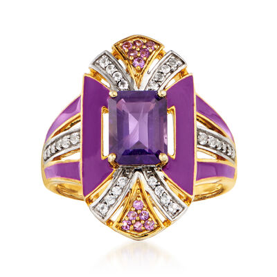 1.60 ct. t.w. Amethyst and .30 ct. t.w. White Topaz Ring with Purple Enamel in 18kt Gold Over Sterling