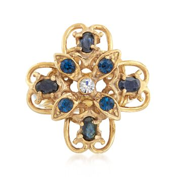 Italian 1.00 ct. t.w. Blue Quartz Ring With Multicolored Swarovski Crystals in 18kt Gold Over Sterling , , default