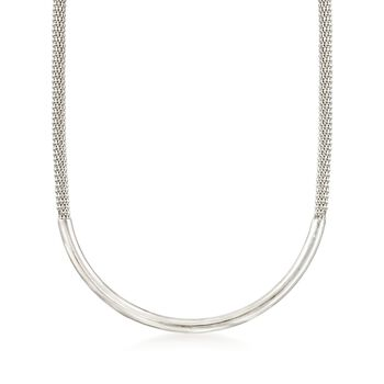 "Italian Sterling Silver Curved Bar Necklace. 18"", , default"