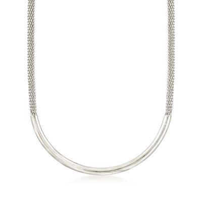 Italian Sterling Silver Curved Bar Necklace, , default