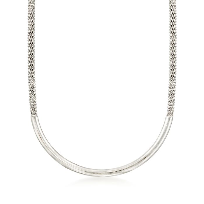 """Italian Sterling Silver Curved Bar Necklace. 18"""", , default"""
