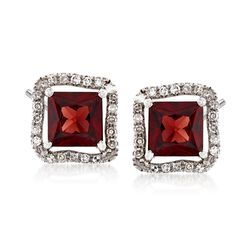 1.20 ct. t.w. Garnet and .12 ct. t.w. Diamond Earrings in 14kt White Gold, , default