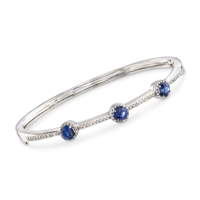 """C. 1990 Vintage 1.65 ct. t.w. Sapphire and .60 ct. t.w. Diamond Station Bangle Bracelet in 14kt White Gold. 7"""", , default"""