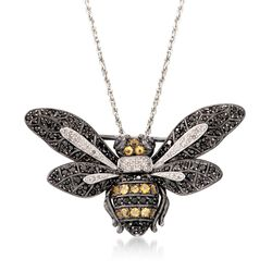 "Black Spinel and .63 ct. t.w. Multi-Stone Bee Pin Pendant Necklace in Sterling Silver. 18"", , default"