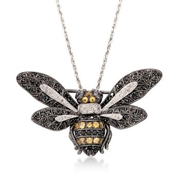 """Black Spinel and .63 ct. t.w. Multi-Stone Bee Pin Pendant Necklace in Sterling Silver. 18"""", , default"""
