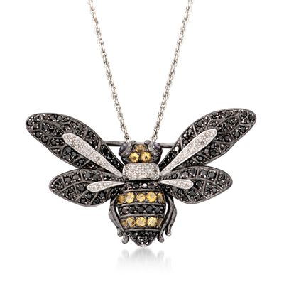 Black Spinel and .63 ct. t.w. Multi-Stone Bee Pin Pendant Necklace in Sterling Silver, , default