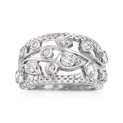 C. 1980 Vintage .85 ct. t.w. Diamond Floral Ring in 14kt White Gold
