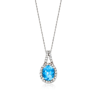 C. 1980 Vintage 3.70 Carat Blue Topaz and .30 ct. t.w. Diamond Pendant Necklace in 14kt White Gold