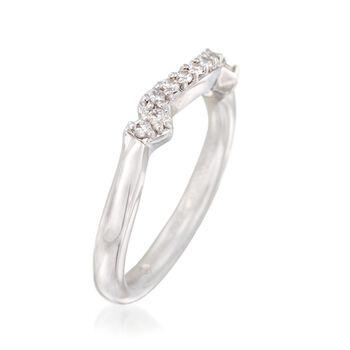 Gabriel Designs .18 ct. t.w. Diamond Curved Wedding Ring in 14kt White Gold, , default