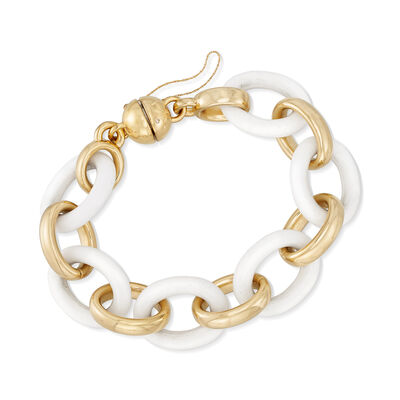 Andiamo 14kt Yellow Gold and White Agate Bracelet with Magnetic Clasp, , default