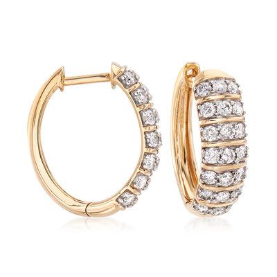 1.00 ct. t.w. Diamond Hoop Earrings in 14kt Yellow Gold, , default