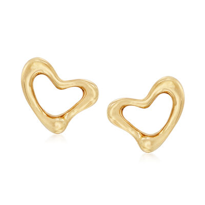 "C. 1990 Vintage Tiffany Jewelry ""Elsa Peretti"" 18kt Yellow Gold Heart Clip-On Earrings"