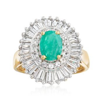1.00 Carat Emerald and 2.00 ct. t.w. White Topaz Ring in 18kt Gold Over Sterling, , default