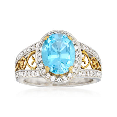 C. 1990 Vintage 3.57 Carat Sky Blue Topaz and .66 ct. t.w. Diamond Ring in 18kt Two-Tone Gold
