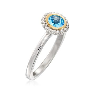 "Phillip Gavriel ""Popcorn"" .49 Carat Blue Topaz Ring in Sterling Silver and 18kt Gold, , default"