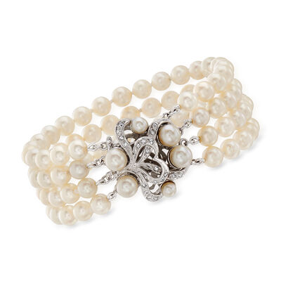 C. 1950 Vintage 5.5x6mm Cultured Pearl and .25 ct. t.w. Diamond Four-Row Bracelet in 14kt White Gold
