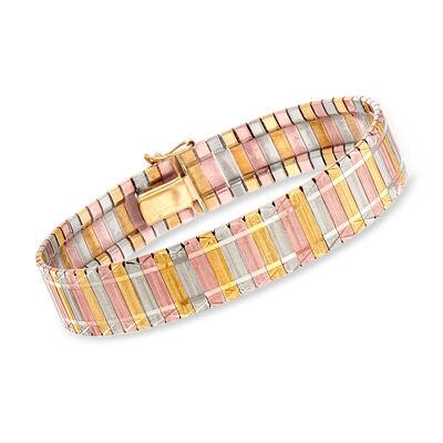 C. 1980 Vintage 14kt Tri-Colored Gold Mesh Bracelet, , default