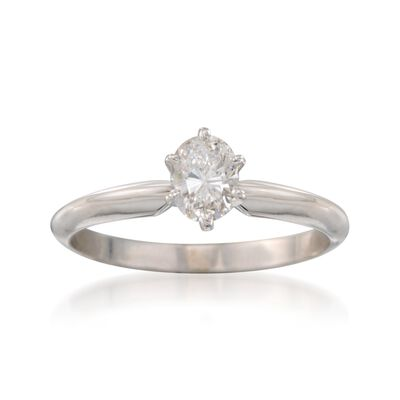 C.1990 Vintage .50 Carat Diamond Solitaire Engagement Ring in 14kt White Gold, , default