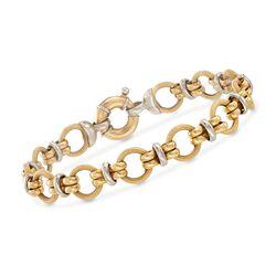 """C. 1990 Vintage 18kt Two-Tone Gold Circle-Link Bracelet. 8.25"""", , default"""