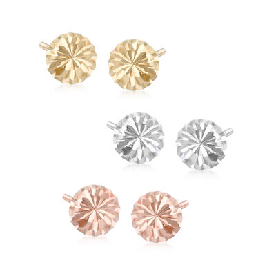 14kt Tri-Colored Gold Jewelry Set: Three Pairs of Diamond-Cut Dome Stud Earrings