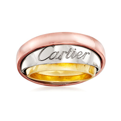C. 1990 Vintage Cartier 18kt Tri-Colored Gold Rolling Ring, , default