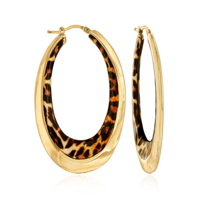 Italian Leopard-Print Enamel Oval Hoop Earrings in 14kt Yellow Gold