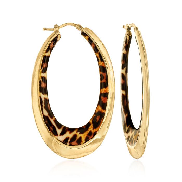 """Italian Leopard-Print Enamel Oval Hoop Earrings in 14kt Yellow Gold. 2 1/4"""""""