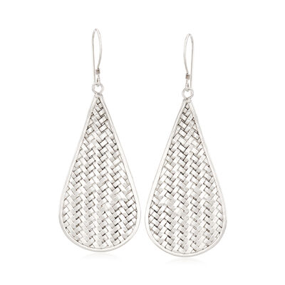 Sterling Silver Basketweave Drop Earrings, , default