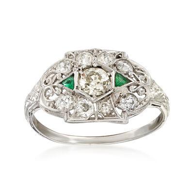 C. 1935 Vintage .60 ct. t.w. Diamond and Emerald Ring in Platinum, , default