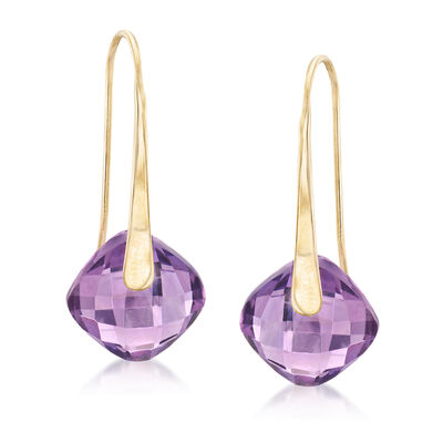 7.00 ct. t.w. Amethyst Drop Earrings in 14kt Yellow Gold