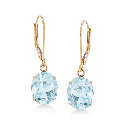 4.50 ct. t.w. Aquamarine Drop Earrings in 14kt Yellow Gold, , default
