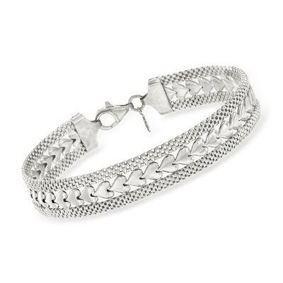Italian Sterling Silver Heart Motif Bracelet , , default