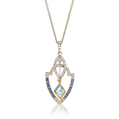 C. 1940 Vintage 1.80 ct. t.w. Multi-Gemstone and .35 ct. t.w. Diamond Pendant Necklace in Platinum and 18kt Yellow Gold, , default