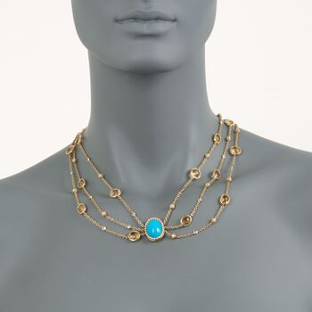 "Italian Turquoise and 31.39 ct. t.w. Citrine Chain Necklace with Diamonds in 18kt Yellow Gold. 16"", , default"