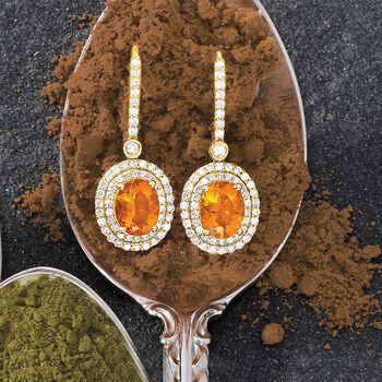 Fire Opal and 1.05 ct. t.w. Diamond Drop Earrings in 18kt Yellow Gold