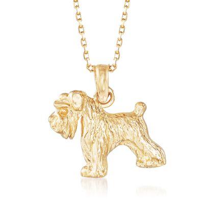14kt Yellow Gold Schnauzer Dog Pendant Necklace, , default