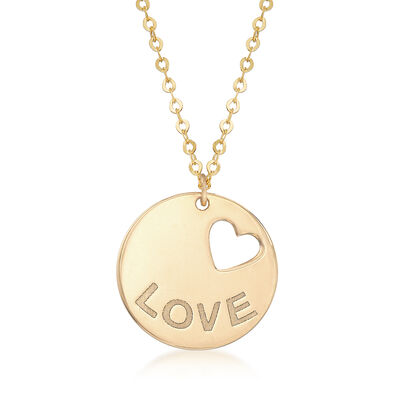 "Italian Cut-Out Heart ""Love"" Necklace in 14kt Yellow Gold, , default"