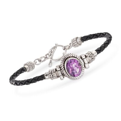 2.50 Carat Amethyst and Black Leather Toggle Bracelet in Sterling Silver, , default